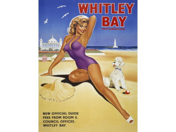 whitley-bay-the-new-official-guide-woman-in-swim-suit-with-pet-dog-on-beech-old-retro-vintage-advert-holiday-ideal-for-cafe-house-home-and-bar-metal-steel-wall-sign