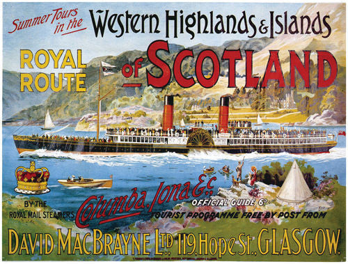 western-highlands-islands-of-scotland-royal-route-paddle-steamer-boat-loch-old-retro-vintage-holiday-advert-for-house-home-bar-or-pub-metal-steel-wall-sign