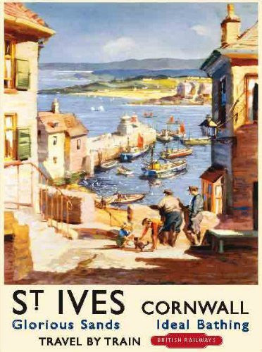 st-ives-harbour-cornwall-british-railway-cornish-holiday-advert-for-sea-side-or-day-trips-kitchen-holiday-summer-pub-restaurant-cafe-coffee-shop-metal-steel-wall-sign