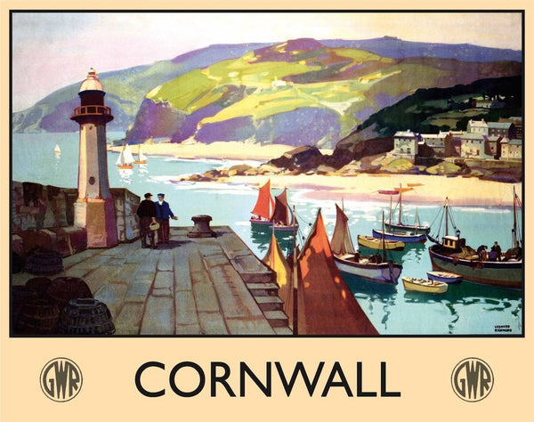 cornwall-cornish-boats-ships-harbour-gwr-trains-railways-old-retro-vintage-holiday-advert-to-travel-by-train-to-cornwall-for-house-home-bar-pub-or-shop-metal-steel-wall-sign
