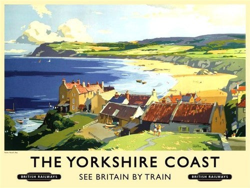 the-yorkshire-coast-robin-hood-bay-boats-beach-cottages-old-retro-vintage-holiday-advert-to-trains-to-the-seaside-british-railway-for-house-home-bar-cafe-pub-or-shop-metal-steel-wall-sign