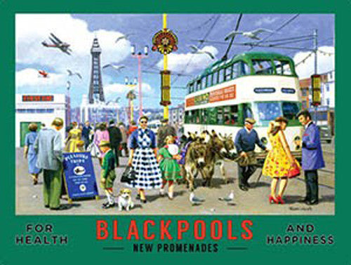 blackpool-s-new-promenades-glorious-holidays-abroad-retro-old-vintage-deco-holiday-advert-for-home-shop-cafe-shop-or-pub-metal-steel-wall-sign
