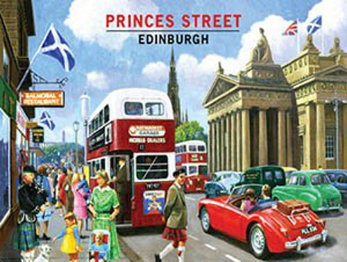 Princes Street, Edinburgh, Scotland. Old Vintage 50's 60's for home, kitchen, travel, garage, pub, bar or restauran Large Steel Wall Sign