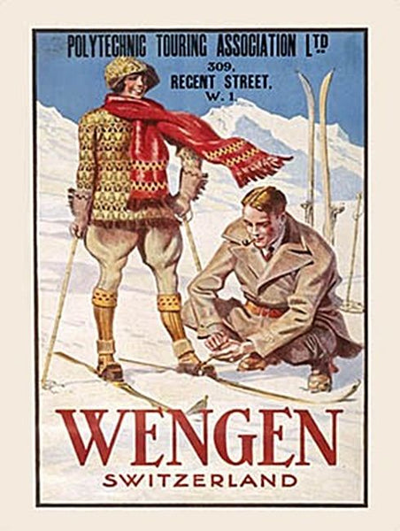 Wengen Swiss Alps Skiing Snow Holiday Old Classic Metal/Steel Wall Sign