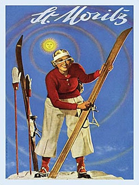 St Moritz Swiss Alps Ski Skiing Holiday Old Classic Metal/Steel Wall Sign