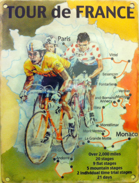 Tour de France Map, Yellow Jersey Sport, Cycle, Metal/Steel Wall Sign