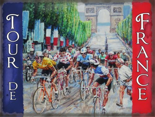 Tour de France with Arch De Triumph and French Metal/Steel Wall Sign