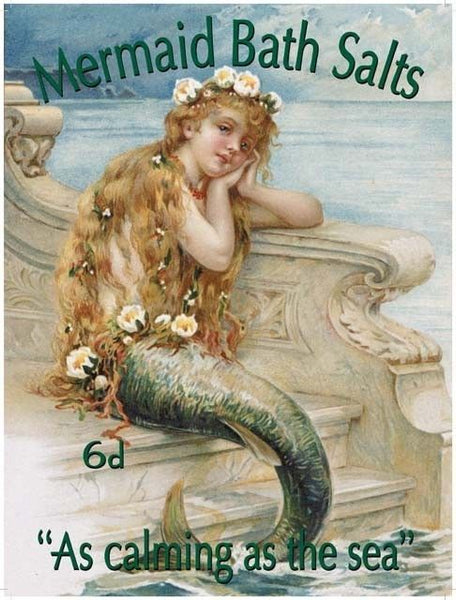 Mermaid Bath Salts. Old Vintage Advertising Sign Metal/Steel Wall Sign