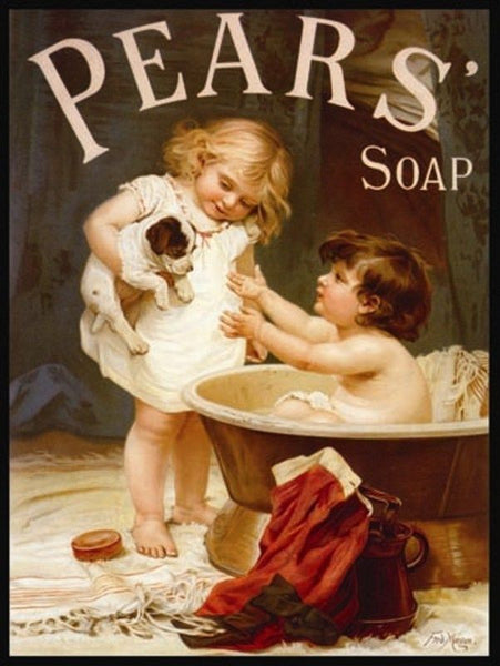 Pears Bathtime Soap, Children in bath with Puppy. Metal/Steel Wall Sign