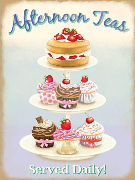 La Patisserie French cakes Cream Metal//Steel Wall Sign Pink polka dots