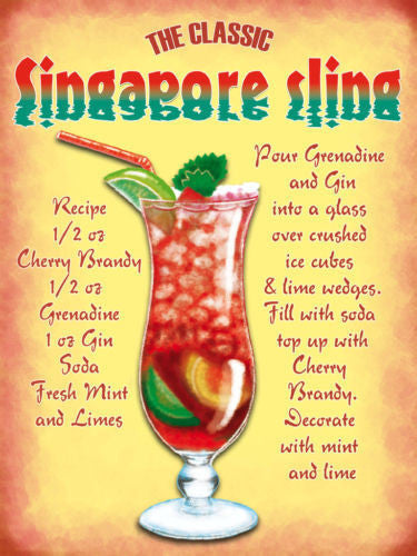 singapore-sling-recipe-cherry-brandy-ice-mint-box-and-limes-glass-classic-cocktail-food-and-drink-metal-steel-wall-sign