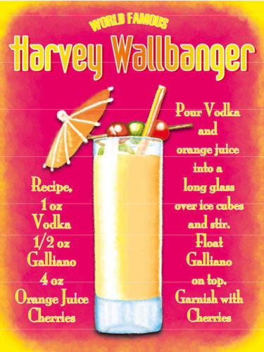 harvey-wall-banger-cocktail-recipe-pink-glass-classic-drink-straws-and-umbrella-fruit-food-and-drink-metal-steel-wall-sign