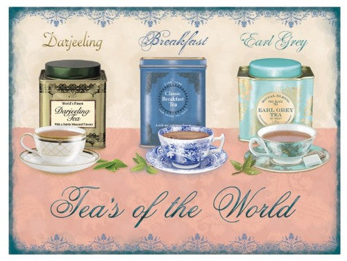 teas-of-the-world-darjeeling-breakfast-earl-grey-cup-saucer-drink-brew-old-retro-vintage-for-kitchen-cafe-pub-or-restaurant-metal-steel-wall-sign