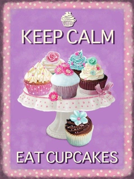 Keep Calm. Eat Cupcakes. Cakes on a stand. Lace.  Metal/Steel Wall Sign