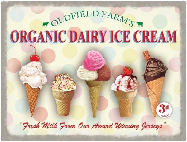 Organic Dairy Ice Cream Cones. Strawberry, Vanilla,  Metal/Steel Wall Sign