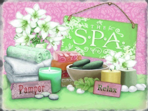 the-spa-pamper-relax-items-used-such-as-towels-flowers-and-candles-and-soap-ideal-for-house-home-bathroom-toilet-restroom-wc-wash-room-shop-and-spa-metal-steel-wall-sign