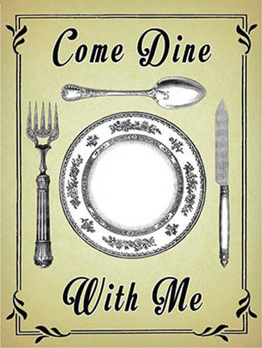 Come Dine dinner Party Advertising Food Drink Kitchen  Metal/Steel Wall Sign