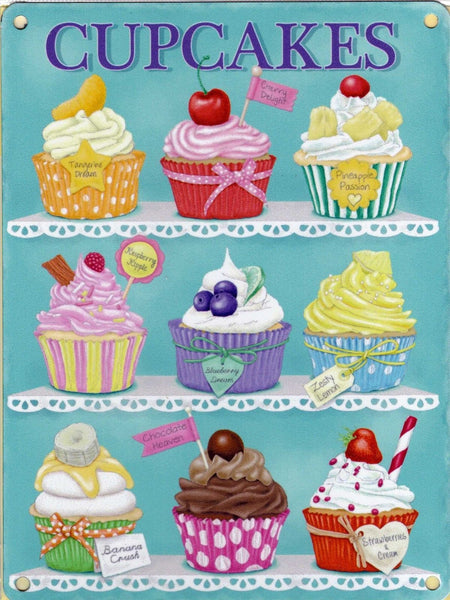 Cupcakes Baking Kitchen Vintage Retro Shabby Chic. Metal/Steel Wall Sign