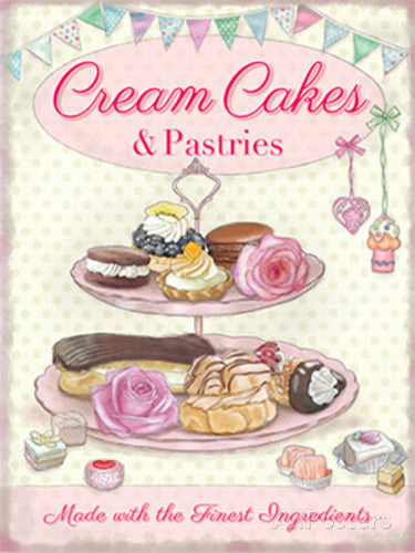 cream-cakes-pastries-cream-tea-cake-stand-eclairs-for-kitchen-house-home-cafe-coffee-food-shop-or-restaurant-metal-steel-wall-sign