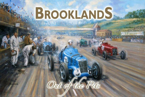 brooklands-out-of-the-pits-classic-motor-car-racing-golden-age-home-of-motor-racing-for-home-house-garage-man-cave-pub-metal-steel-wall-sign