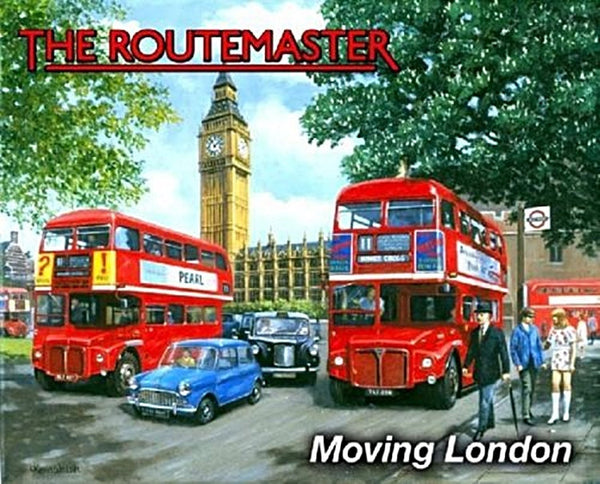 the-routemaster-classic-red-london-bus-60-s-london-with-big-ben-and-black-cab-for-house-home-garage-man-cave-or-pub-metal-steel-wall-sign