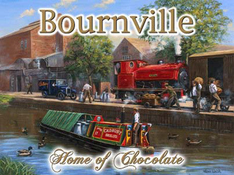 bournville-cadbury-s-chocolate-steam-engine-and-canal-barge-boat-for-home-house-garage-kitchen-shed-pub-or-man-cave-metal-steel-wall-sign