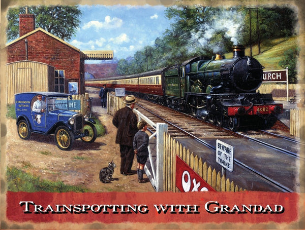 trainspotting-with-granddad-steam-train-old-railway-engine-green-locomotive-at-the-train-station-and-level-crossing-for-house-home-pub-man-cave-or-restaurant-metal-steel-wall-sign