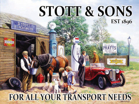 stott-sons-est-1896-blacksmiths-early-20th-century-gentlemen-filling-mg-at-petrol-pump-for-garage-shed-man-cave-pub-or-home-metal-steel-wall-sign