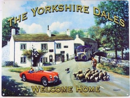 the-yorkshire-dales-car-country-village-scene-metal-steel-wall-sign