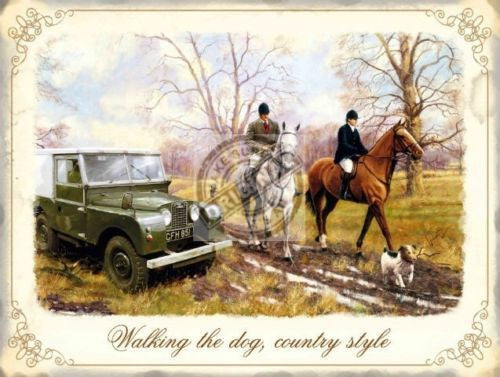 country-style-horses-and-riders-with-land-rover-mk1-on-country-walk-in-field-walking-the-dog-metal-steel-wall-sign