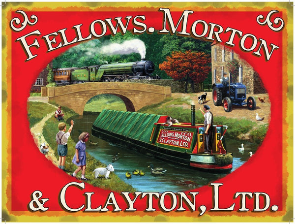 fellows-morton-clayton-ltd-canal-barge-with-green-steam-locomotive-train-and-tractor-early-20th-century-for-house-home-shed-garage-or-pub-metal-steel-wall-sign