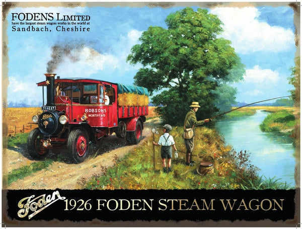 fodens-limited-sandbach-cheshire-1926-steam-wagon-on-country-lane-passing-father-and-son-fishing-on-the-river-farmer-hay-bales-mid-20th-century-for-house-home-garage-pub-metal-steel-wall-sign