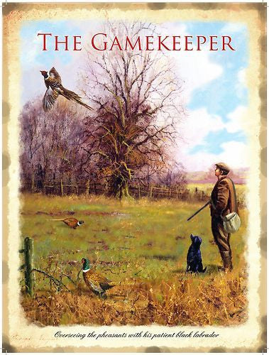 the-gamekeeper-shoot-with-hound-dog-black-labrador-retriever-pheasants-in-field-for-house-home-or-pub-metal-steel-wall-sign