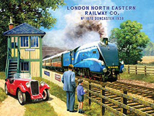 london-north-eastern-railway-company-blue-steam-locomotive-at-signal-box-with-red-mg-father-and-son-train-spotting-mid-20th-century-for-house-home-pub-or-garage-metal-steel-wall-sign