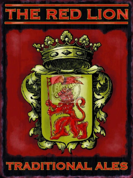red-lion-pub-bar-restaurant-traditional-ales-beer-old-metal-steel-wall-sign