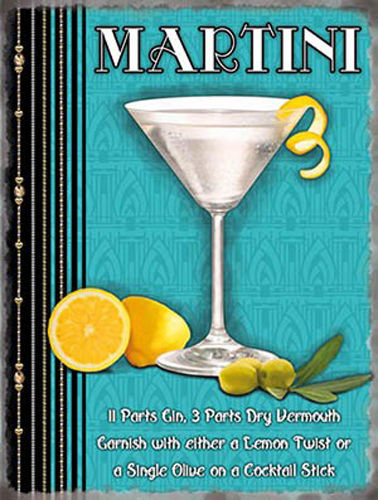 Martini glass and recipe. Lemon, limes, gin, olive. Metal/Steel Wall Sign