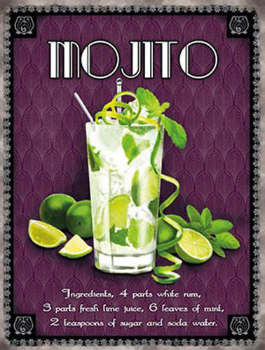 Mojito classic cocktail. Drink, glass, recipe. Limes,  Metal/Steel Wall Sign