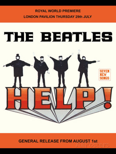 the-beatles-help-movie-poster-john-paul-george-and-ringo-early-beatles-standing-doing-sign-spelling-help-sos-nautical-album-fab-four-liverpool-beetles-song-help-i-need-somebody-anybody-metal-steel-wall-sign