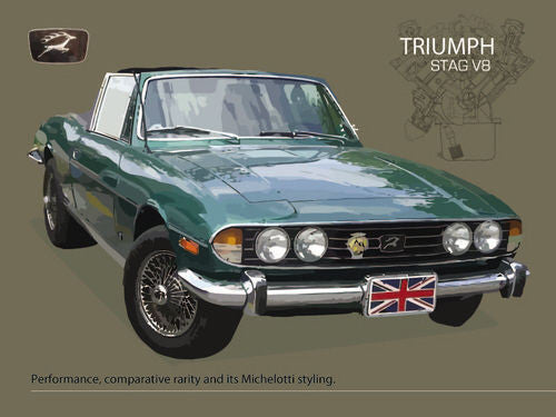 triumph-stag-v8-british-classic-muscle-motor-car-in-racing-green-iconic-1970-s-styling-v8-engine-for-house-home-garage-man-cave-or-pub-bar-and-shed-metal-steel-wall-sign