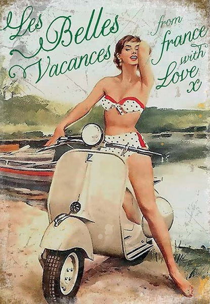 vespa-les-belles-vacances-lady-in-polka-dot-bikini-on-white-vespa-motor-scooter-1950-s-beach-not-mod-for-home-garage-pub-or-man-cave-metal-steel-wall-sign