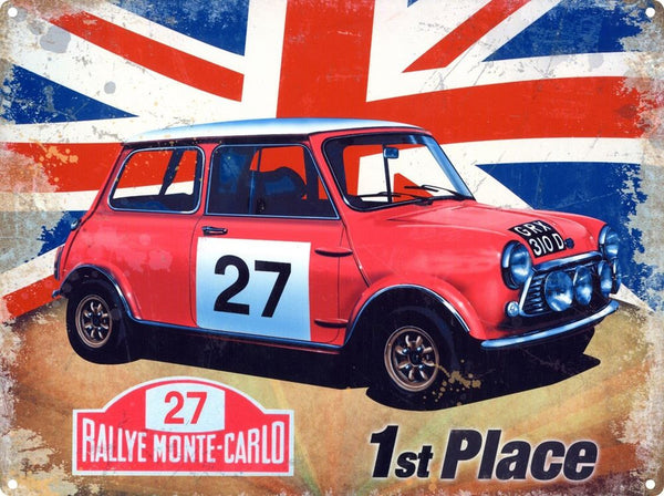 mini-cooper-s-rallye-monte-carlo-1st-place-union-jack-british-classic-car-rally-car-red-number-27-italian-job-sport-motor-car-racing-vehicle-1960-s-ideal-for-house-home-garage-shed-or-man-cave-metal-steel-wall-sign