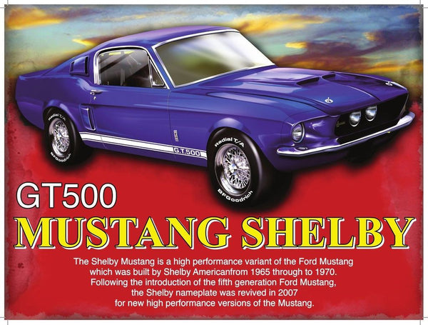 mustang-shelby-classic-american-muscle-motor-car-in-blue-gt-500-g-t-high-performance-ford-60-s-and-70-s-dream-car-gone-in-60-seconds-eleanor-lottery-win-metal-steel-wall-sign