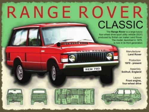 range-rover-classic-red-4x4-from-land-rover-description-and-drawings-on-sign-for-house-home-garage-or-pub-metal-steel-wall-sign