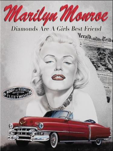marilyn-monroe-diamonds-are-a-girls-best-friend-black-white-portrait-and-red-caddy-icon-of-silver-screen-movies-and-hollywood-for-home-cinema-pub-bar-restaurant-diner-metal-steel-wall-sign