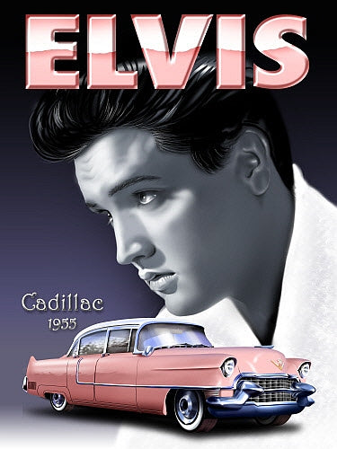 Elvis Presley. Pink 1955 Cadillac Caddy. The King  Metal/Steel Wall Sign