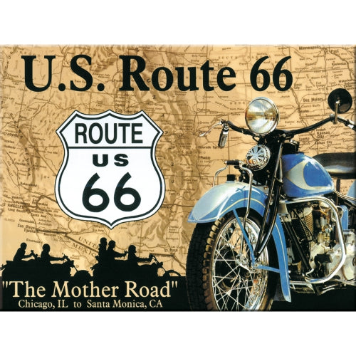 Route 66. Iconic route in America. Hotel. Cafe.  Metal/Steel Wall Sign
