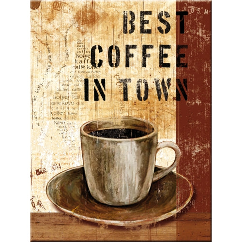 Best Coffee In Town Cafe Kitchen Diner Shop Bistro Retro Fridge Magnet