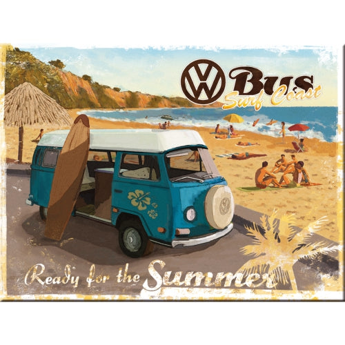 VW Bus. Ready for the summer. Beach. Surf bus. bay.  Magnet
