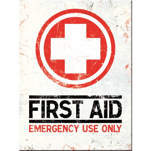 First Aid. Emergency use only. Red, white, cross. design.  Fridge Magnet