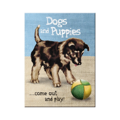 Dogs and Puppies come out and play. Puppy playing surface.  Fridge Magnet
